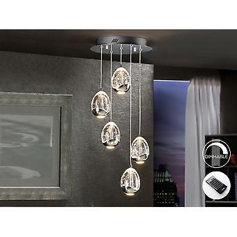 Schuller Roc - lampe LED de 5 lumières. Fait de métal, finition chromée. Nuances avec forme de goutte faite de verre massif avec des bulles décoratives à l'intérieur. La longueur des réglables. 25W LED. 2.400 lm. 3.000K. DIMMABLE. Télécommande incluse. - 783517D