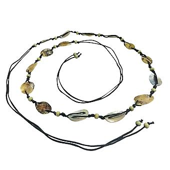 Mother Pearl Shell Wooden Bead Belt with Waxed Cords