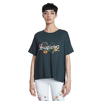 Desigual Kvinnor & apos Khaki Sport Tshirt Oversize Blommor & Logo Activewear L