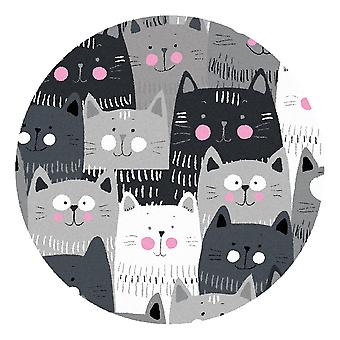Kids Rug - Cats - Washable - Circle 75 cm