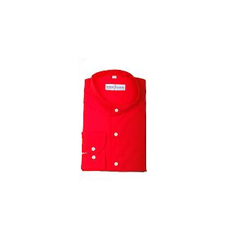 Jenson Samuel Plain Red Collarless Regular Fit Shirt