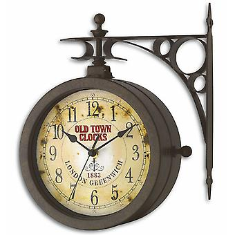 TFA wall clock quartz nostalgia with thermometer antique look weatherproof