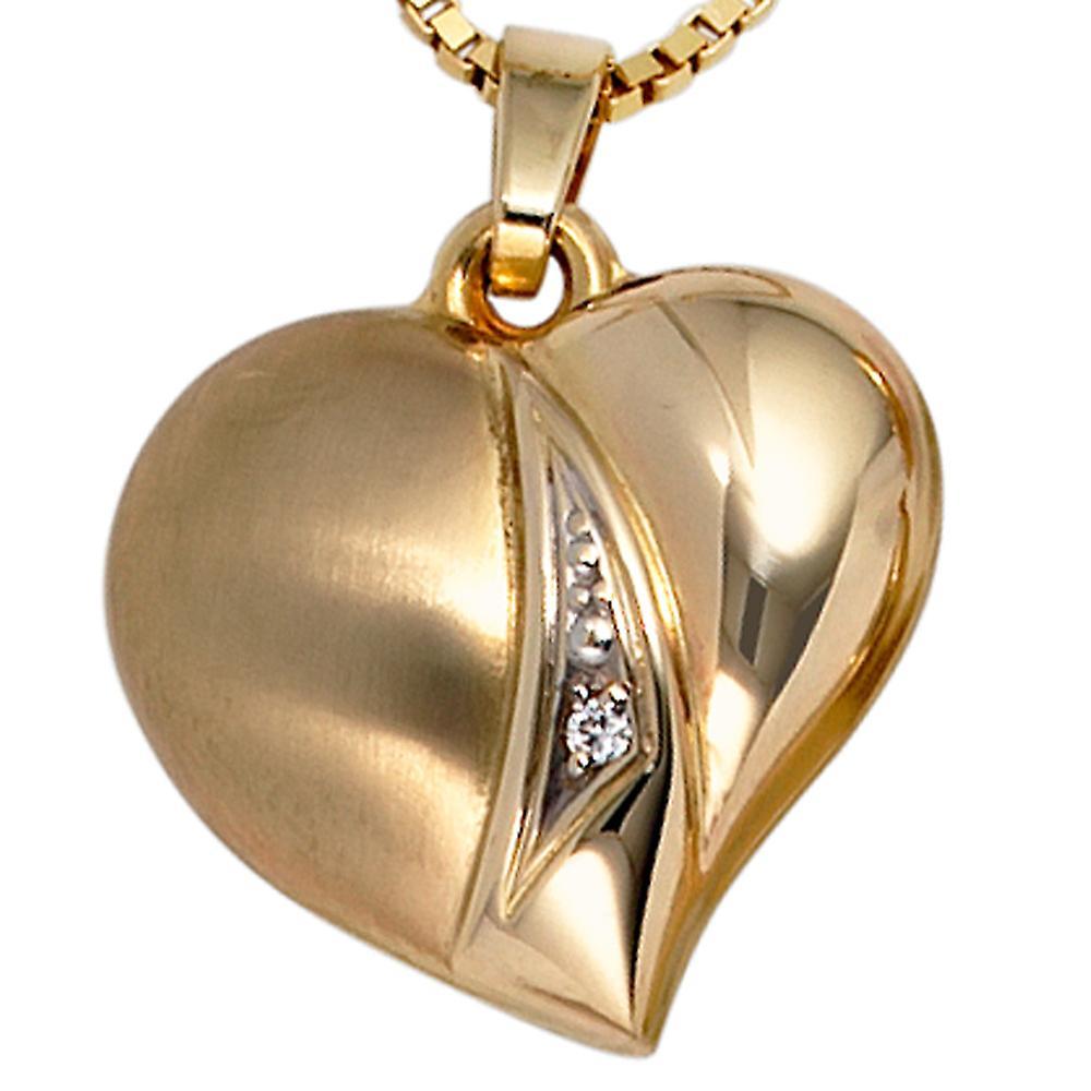 Damen Anhänger Herz 333 Gold Gelbgold teil matt 1 Zirkonia Herzanhänger Goldherz