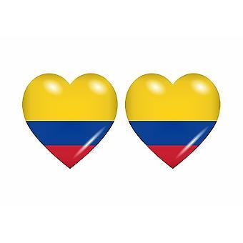 2x عصا ملصقا القلب العلم CO كولومبيا