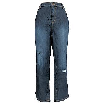 Denim & Co. Women's Plus Jeans Classic Denim Ankle Indigo Blue A304472