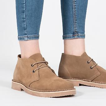 Roamers Unisex Round Toe Suede Leather Desert Boots Camel