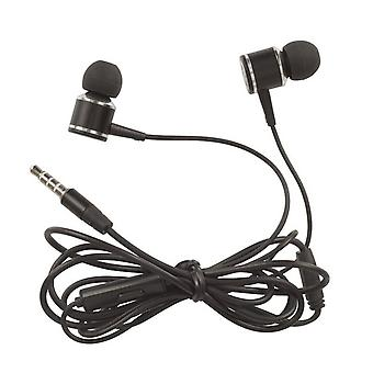 Aluminium Earphones Stereo 3.5mm w/ Mic/Vol Control (Black)