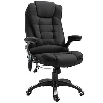 Vinsetto Massage Office Chair 130° Recliner Ergonomic Gaming Seven Point Heated Home Office Padded  Linen Fabric & Swivel Base Black