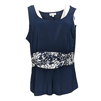 NorthStyle Women's Top Sleeveless Blouse met Mesh Lace Detail Blue