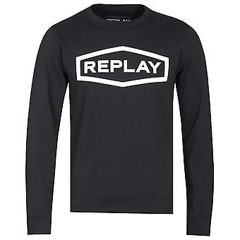Replay 3D Graphic Black Logo Sweatshirt