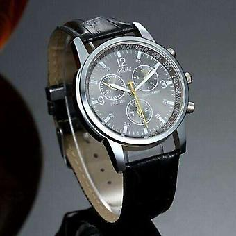 Men's luxury tach watch stainless steel with leather band