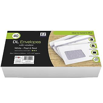 Anker DL Peel & Seal Envelopes With Window (Pack of 40)