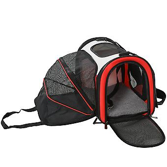 PawHut 41cm Pet Carrier Expandable Foldable Travel Bag Soft-Sided Pet Carrier with Zippered Doors Mesh Windows for Cat and Dog