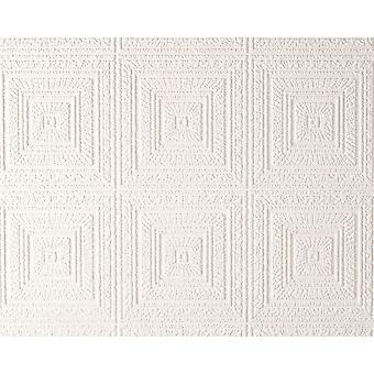Paintable Wallpaper Big Squares Blown Embossed Vinyl White Modern AS Creation