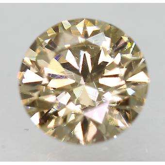 Cert 0.76 Carat Light Brown VVS1 Round Brilliant Natural Loose Diamond 5.89m 3EX