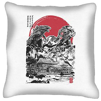 Godzilla Attack On Japan Temple White Cushion