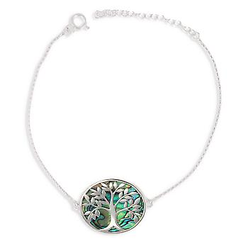 ADEN 925 Sterling Silver Abalone Mother-of-pearl Tree of Life Bracelet (id 3992)