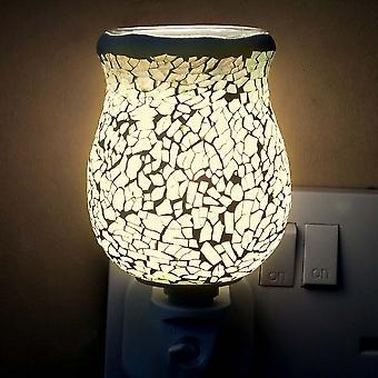 IEP White Glow Crackle Tulip Mosaic Wax Warmer