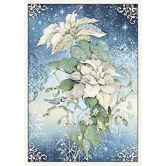 Stamperia Ris Papper A3 Julstjärna Vit