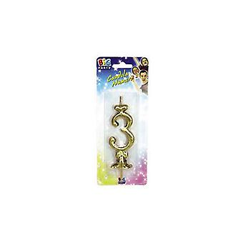Gold 8.5cm Numeral Candle - No 3