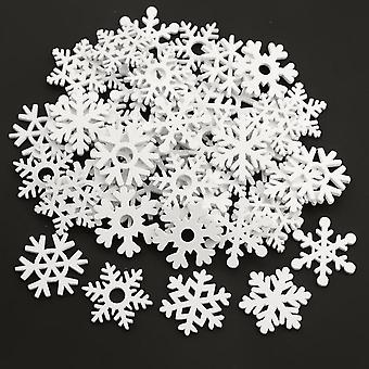 Mix Shape White Snowflakes Wooden Christmas Ornaments Xmas Pendants Decorations