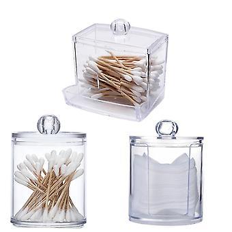 Organizador transparente Algodón Swab Storage Box Organizador - Almohadilla de algodón acrílico