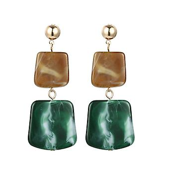 Green Acrylic Resin Square Disc Drop Earrings