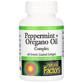 Natural Factors, Peppermint + Oregano Oil Complex, 60 Enteric Coated Softgels