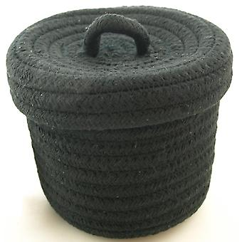 Basket Musta kannellinen tekstiili 13x10 cm