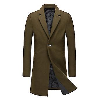 Allthemen Men's Woolen Overcoat Slim Fit Élégant Long Windbreaker Automne