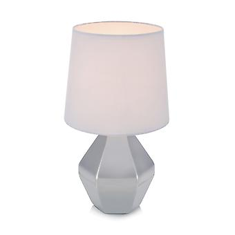 1 Light Indoor Table Lamp Silver with Tapered Shade, E14
