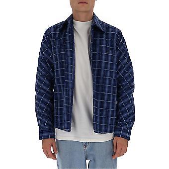Off-white Omga133f20fab0014501 Mænd's Blå Bomuldsskjorte