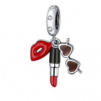 Sterling Silver Pendant Charm Lipstick And Sunglasses - 6773