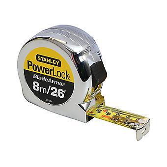 Stanley Tools PowerLock BladeArmor Pocket Tape 8m/26ft (Width 25mm) STA033526