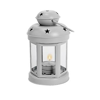 Nicola Spring Candle Lanterns Tealight Holders Vintage Metal Hanging Indoor Outdoor - 16cm - Grey