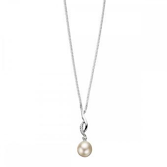 Elements Silver Twisted Pendant With Pearl And CZ P3452WZ364N724