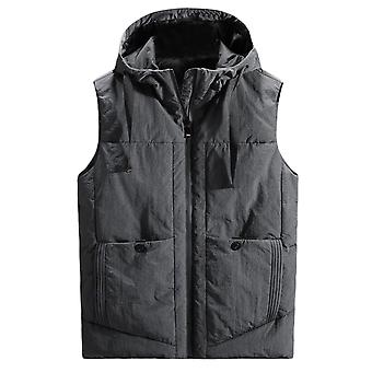 YANGFAN Men's Hooded Full Zip Solid Color Vest with Pocket