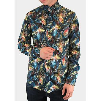 Multicolour Abstract Feather Print Shirt