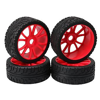12-Spoke Red Wheel Rim and High Grip Rubber Tire for RC 1:8 Off-Road Car