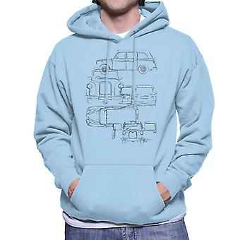 London Taxi Company Light Blueprint Mænd's Hooded Sweatshirt