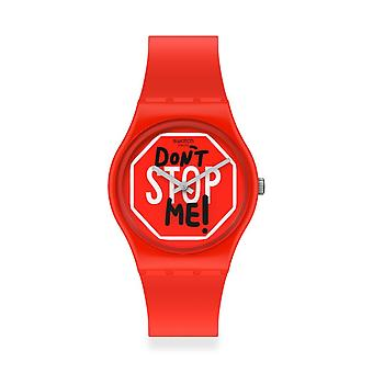 Swatch Gr183 Don't Stop Me! Red Silicone Watch