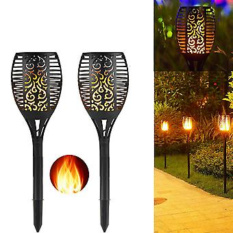 2 Pack Waterproof Dusk To Dawn Solar Tiki Flame Torch Garden Light
