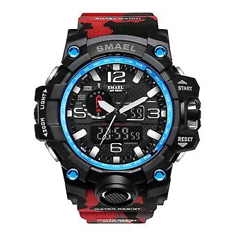 SMAEL Military Dive Watch for Men - Rubber Strap Quartz Movement Analog Digital for Men Red
