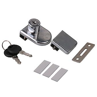 D Type Showcase Single Door Lock for Glass Wine Cabinet with keys Chrome