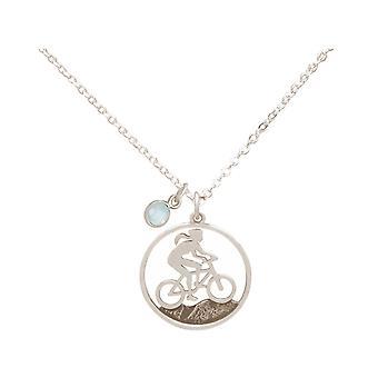 Gemshine Alpin Mountain Bike Naszyjnik w 925 srebrny, pozłacane, róża CHALCEDON