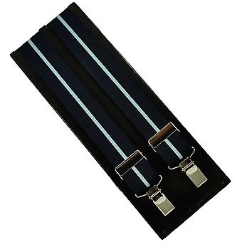 Ties Planet Navy & Light Blue Striped Men's Trouser Braces