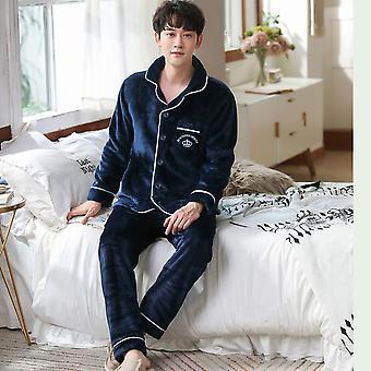 Winter Thicken Warm Soft Blue Flannel Pajamas Sets Night Sleepwear Suit