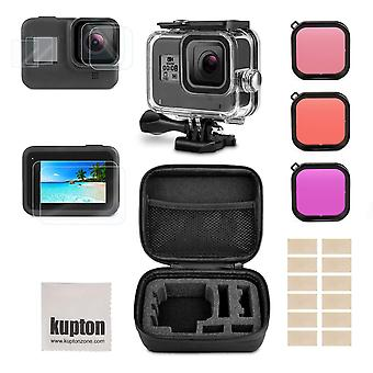 Kupton accessories kit for gopro hero 8 bundle include waterproof housing case + tempered glass scre