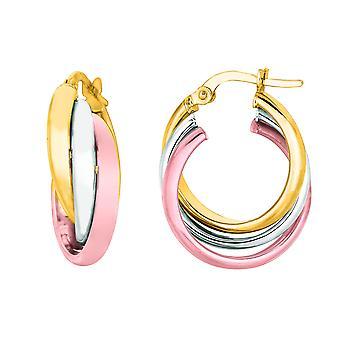 14K geel en wit roze gouden Triple rij Hoop Earrings Hoop Earrings