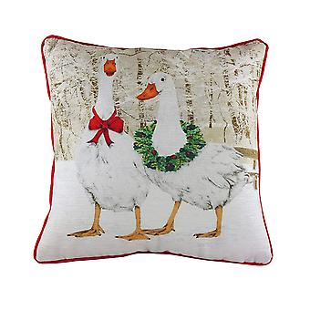 Evans Lichfield Geese Christmas Cushion Cover